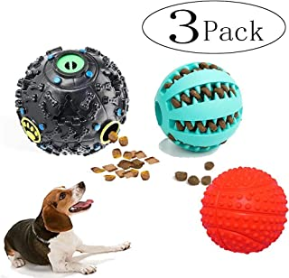 Neepandan Dog Treat Dispensing Toy IQ Treat Ball with Squeaker Rubber Dog Chew Toy Dog Puzzle Toys for Puppy and Small Medium Dogs to Keep Pet Entertained, Mental Stimulation & Increases IQ(3 Pack)