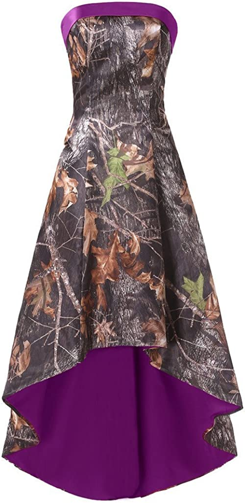 DINGZAN High Low Camo Bridesmaid Prom Dress Wedding Party Reception Gowns