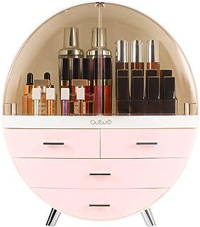 OBMMIRAO Elegante caja organizadora de almacenamiento de maquillaje a prueba de polvo, resistente al agua, organizador de ...