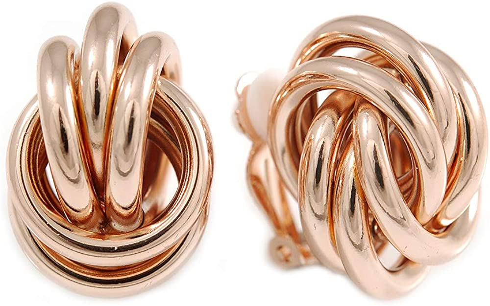 Polished Rose Gold Tone Knot Clip On Earrings - 23mm Long