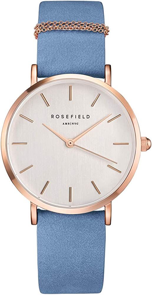 Rosefield west village, orologio da donna, cassa in ottone oro rosa, cinturino in  pelle nabuk vellutata WAGR-W76