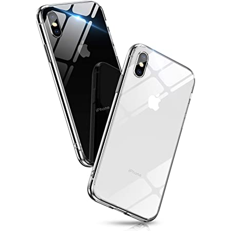 Aunote iPhone XS ケース iPhoneX ケース クリア 背面ガラス 薄型 軽量 耐衝撃 ハードケース (iPhone X/XS, クリア)