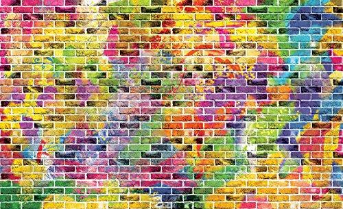 Welt-der-Träume Photo Papier Peint Graffiti – Briques colorées | | Photo Papier Peint 20135 _ P-ms | Imitation Mur Brique Briques Motif coloré, P8 (368cm. x 254cm.)