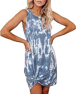 Vestido Estilo Chaleco de Mujer Moda de Verano Tie-Dye Gradiente Vestido de Longitud Media Mujer Casual Streetwear