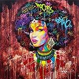 yiyiyaya Wandkunst Bild Drucken Graffiti Kunst Poster Drucken Afrikanische Frau Leinwanddruck Kunst Malerei Porträt Dekorative Wandbilder für Wohnzimmer Decor-30x30cm_no_Frame_D076-4