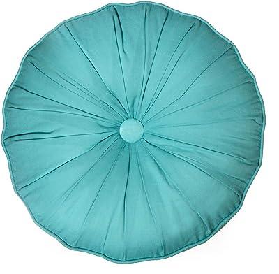 Amazon.com: YunNasi Round Velvet Throw Pillow Pleated ...
