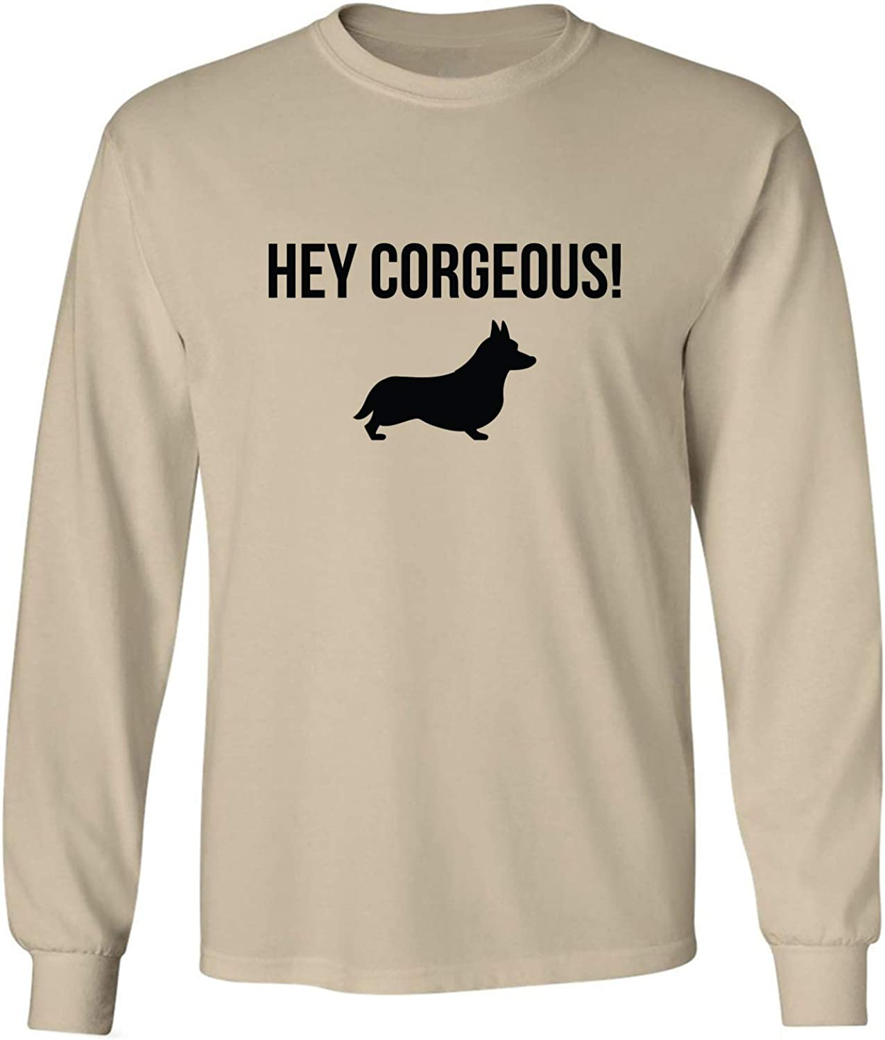 Hey Corgeous! Adult Long Sleeve T-Shirt in Sand - XXX-Large