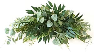 VKTY 27.6 Inch Wedding Flowers Swag Large Artificial Mixed Eucalyptus Leaves Swag Decorative Swag with Green Leaves for Wedding Arch Front Door Wall Decor
