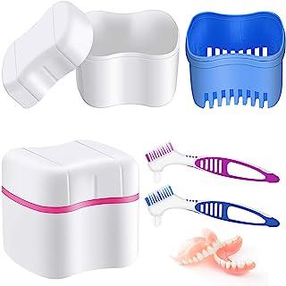 2 Étuis de Bain de Prothèses avec 2 Brosses de Nettoyage de Dentiers Boîtes de Dentiers Conteneur de Prothèses avec Panier...