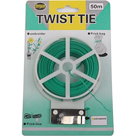 Generic Plastic Twist Tie Wire Spool with Cutter for Garden Yard Plant 50m (Green) (OhhSome-B014D144SA)