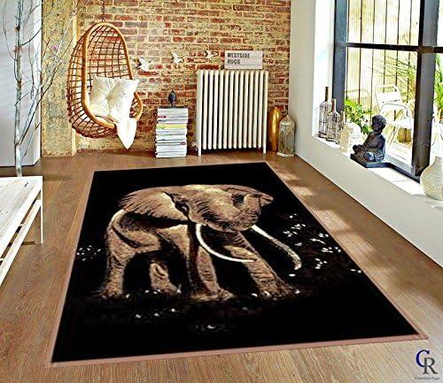 Bold African Elephant Tusks Modern Safari Animal Carpet Area Rug 5 3 X 7 5 product image