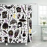 Emvency Duschvorhang Muster Magic Hexe Hexe Alchemy schwarz Bohemian Zeichnen wasserdichte Polyester Stoff 152,4 x 182,9 cm Set mit Haken 72