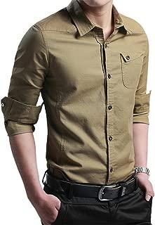 XTAPAN Men's Casual Slim Fit Shirt Cotton Long Sleeve Button Down Dress Shirt