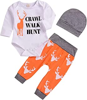 Toddler Baby Boys Crawl Walk Hunt Letter Print Onesie Deer Pattern Clothes Set