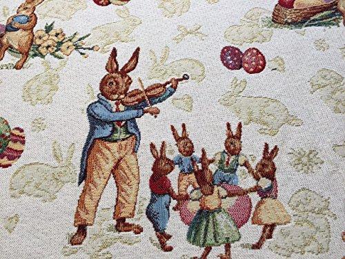 Splendido runner per il tavolo, con coniglietti pasquali, circa 40x 140cm, di Provencestoffe.