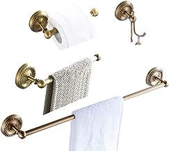 BATHSIR Classical Pattern Antique Brass Towel Bar Bathroom Wall Mounted, Concealed Screws Towel Hanger Shower Accessories