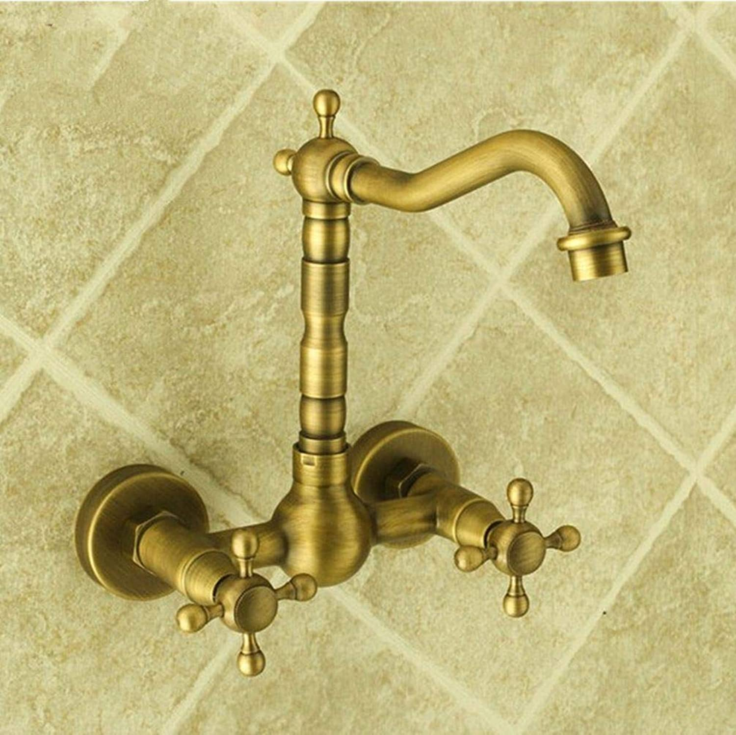 FZHLR Classic Wall Mount Antique Brass Faucets Kitchen Tap Basin Faucets Hot and Cold Mixer Wash Basin Tap