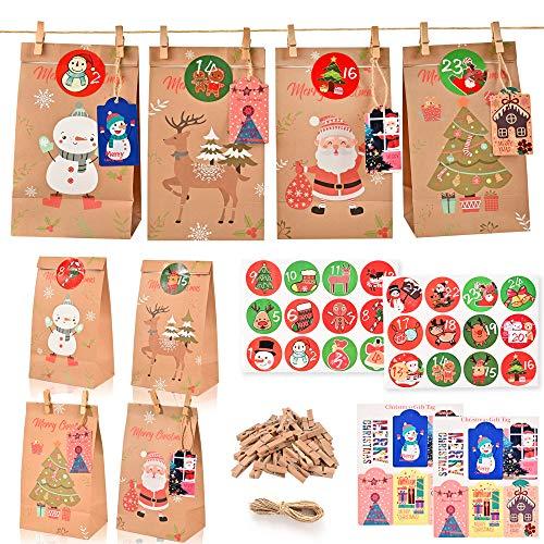 YiWeel Adventskalender zum Befüllen Adventskalender Tüten für Kinder