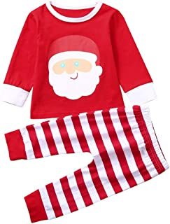 Christmas Warm Baby Boys Girls Christmas Cartoon Striped Printed Tops Pants Set Outfits