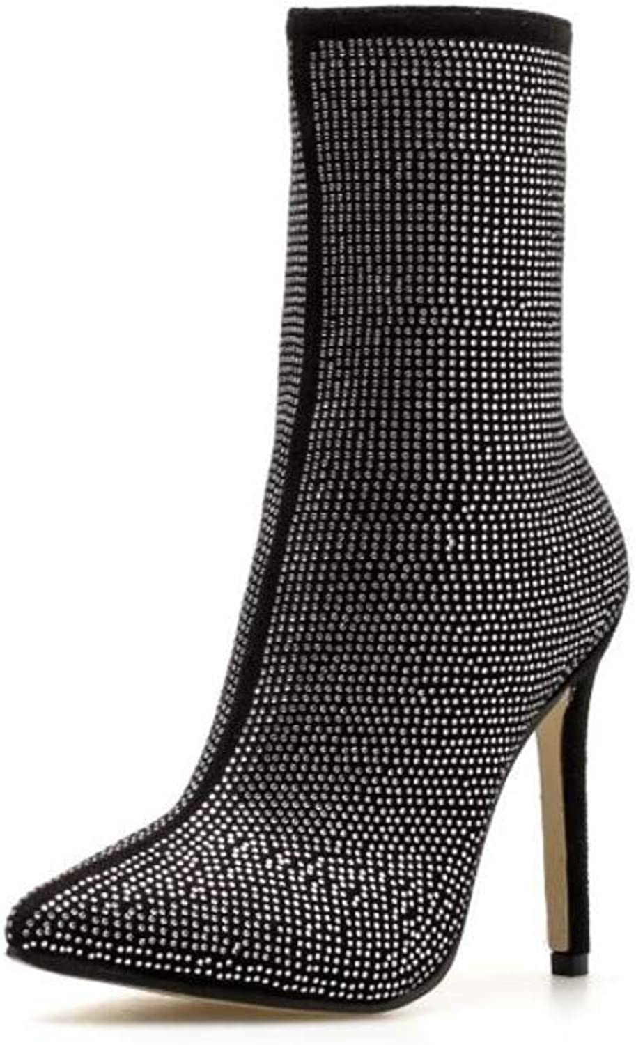 Ladies' Boots, Autumn and Winter, Pointed Rhinestones, Fine Super High Heel Boots