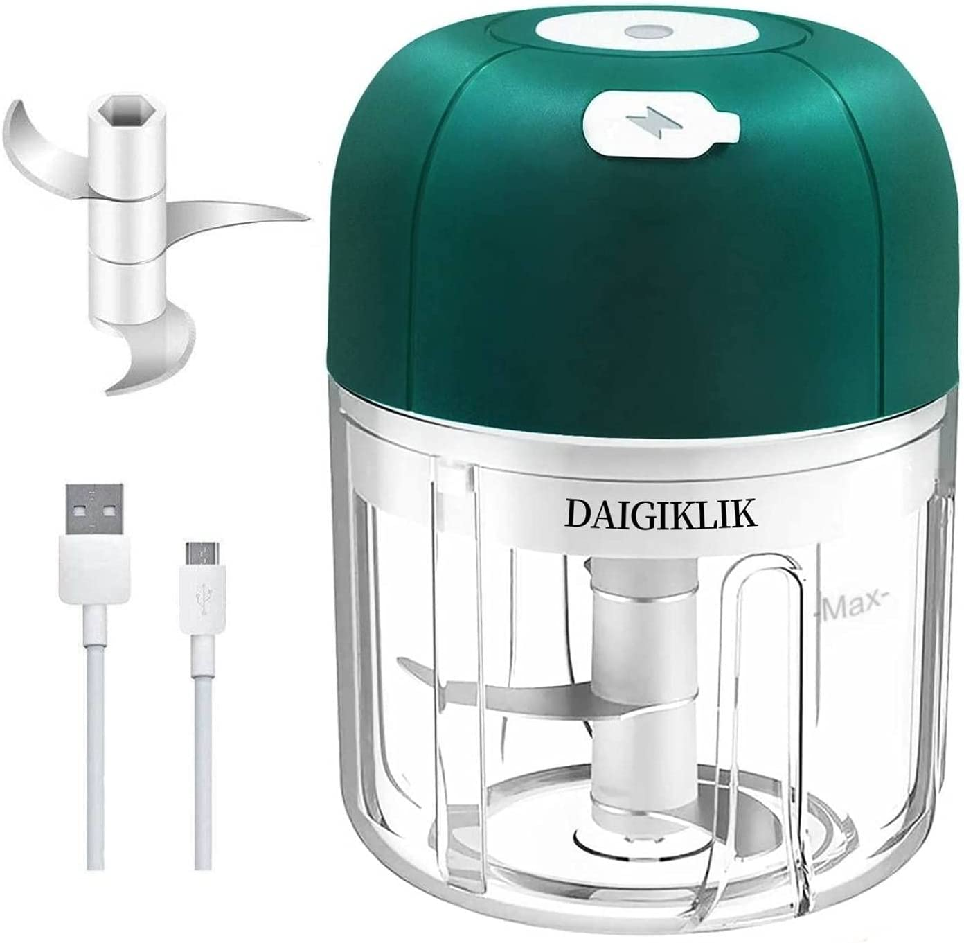 Electric Garlic Chopper (Green,250ML)Mini Wireless Portable Food Processor Chopper, Garlic Spice Fruits Vegetables Meats Rechargeable Mincer for Kitchen Restaurant