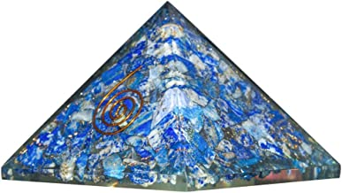 Crocon Lapis Lazuli Orgone Pyramid for Chakra Balancing Reiki Healing Crystal Energy Generator EMF Protection Aura Cleansing Spiritual Decor Size: - 3-3.5 Inch