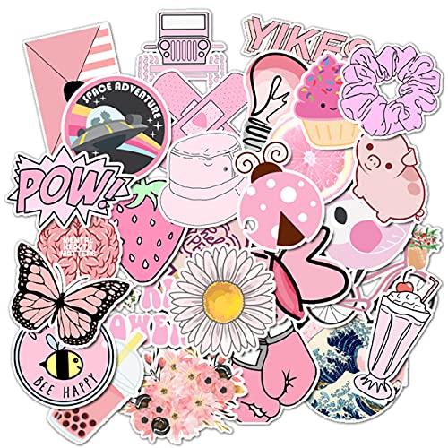 MQIAN 100 Pezzi Kit Adesiv,Vsco Stickers Tumblr Kawaii Decals per Bambini Adolescenti,Adulti, Laptop, Auto, Moto, Biciclette, Skateboard, Valigia (Pink)