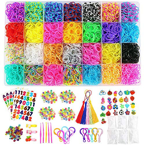 XIYUAN 11900+ Rainbow Rubber Bands Refill Kit, 11,000RainbowRubber Bands, 600 S-Clips, 52 ABC Beads, 25 Charms, 10 Backpack Hooks, 200 Beads, 5 Tassels, 5 Crochet Hooks, 3 Hair Clips, ABC Stickers