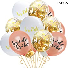 Bachelorette Party Balloons Decorations Bride Tribe + Bridal Shower Balloons Rose Gold, White, Confetti Balloons Engagement Party Decoration 18PCS
