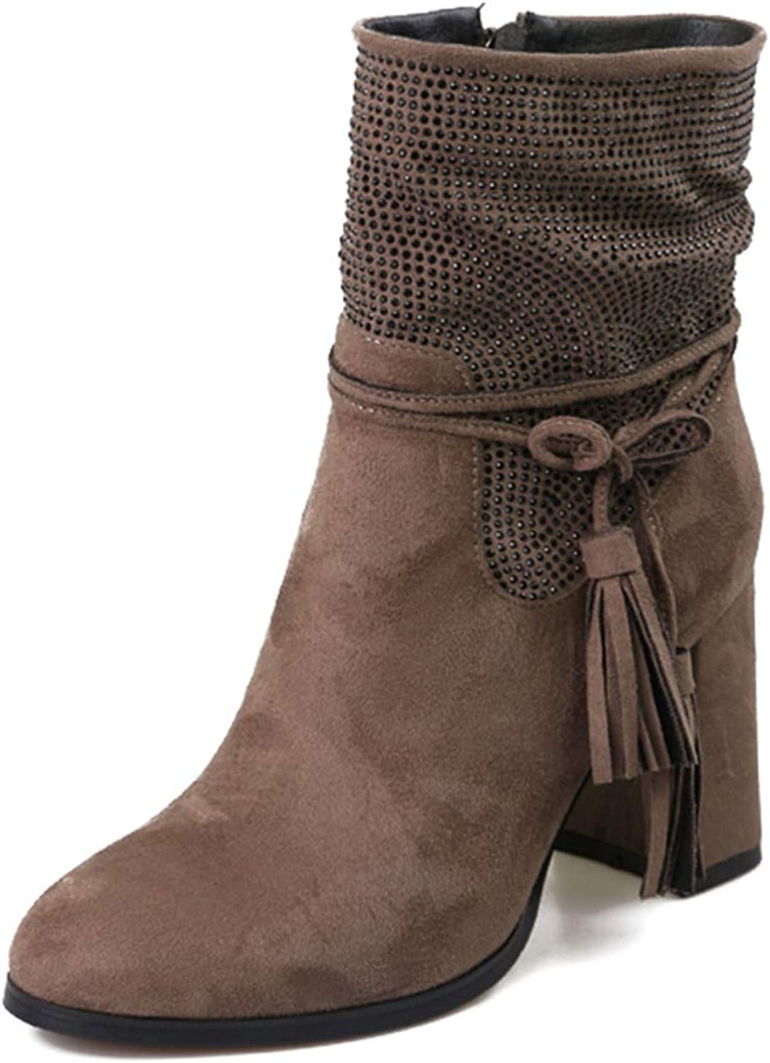 Ankle Boots Flock Zip Footwear Tassel Thick Plush Female Booties Round Toe shoes Woman Winter New