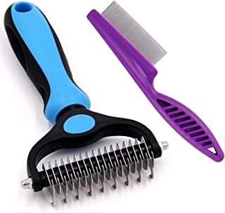 Pet Dematting Tool and Comb, Dual Sided Undercoat Rake for Dogs and Cats, Pet Grooming Rake and Comb for Deshedding, Groom...