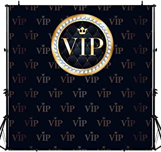 LUCKSTY Hollywood VIP Gold Black Backdrops for Photography 6x6FT Special Event Photo Backgrounds Photo Booth Studio Props LUGE075 Portraits Shooting