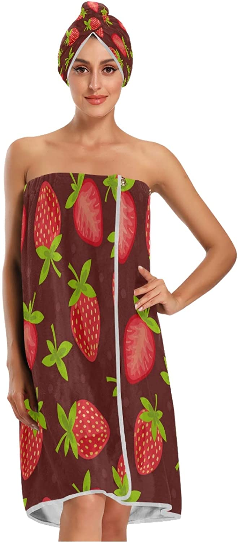 Calmd Sweet Strawberry Print Women Bath Phoenix High order Mall Wrap Dry Towel Spa with