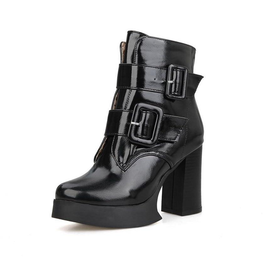 コンパイルまだら辞任する(ウンファッション) WeenFashion 純色 レディース PUの皮 ハイヒール ラウンドトゥ ジッパー ショートブーツ AQFJPXY108990 25cm ブラック-ジッパー