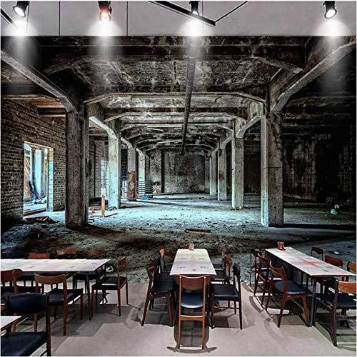 Wuyii fotobehang, retro, nostalgisch, wind, industrieel, 3D-ruimte, graffiti, muurschildering, restaurant, café, bar, achtergrond decor 350 x 250 cm