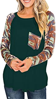 XLDD T-Shirts Women's Long Sleeves Tops Crew Neck Sweatshirts Soft Comfortable Casual Ladies Daily Wear Basic Tees Camo Pr...