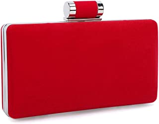 TOOGOO Women's Formal Evening Bags Velvet Wedding Prom Party Clutch Purses(Red)