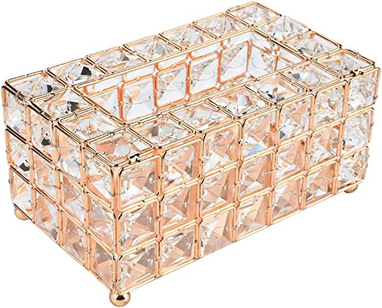 Tissue Box Crystal Napkin Holder Paper Storage Container for Living Room