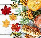 Sweelov 250 Stück künstliche Ahornblatt Herbstlaub Blätter Ahorn Laub Simulation Ahornblatt Für Halloween Erntedankfest Weihnachten Unterlage Wandbild, 5 Farben - 6