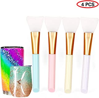 Pink//Black 6pcs Magic Silicone Epoxy Brushes for Glitter Tumbler Flexible Epoxy Sticks for Even Smooth Application Easy Clean Tumbler Pens for DIY Mixing Spread Epoxy Resin to Bling Tumbler Cup Mug