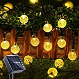 Toodour Solar String Lights Outdoor 50 LED 29.5ft Solar Patio Lights with 8 Modes, Waterproof Crystal Ball String Lights for Patio, Lawn, Gazebo, Party, Wedding, Garden Decorations (Warm White)