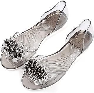 Women Jelly Shoes Bling Peep Toe Flat Sandals Rhinestones Summer Slides for Women