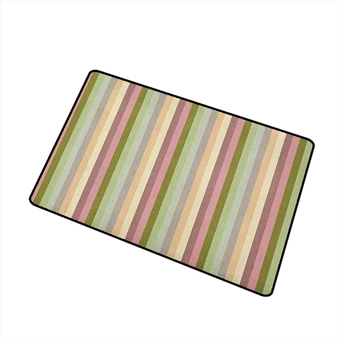 Wang Hai Chuan Stripes Welcome Door mat Colorful Pattern with Pastel Colored Bands Vertically Aligned Abstract Illustration Door mat is odorless and Durable W29.5 x L39.4 Inch Multicolor