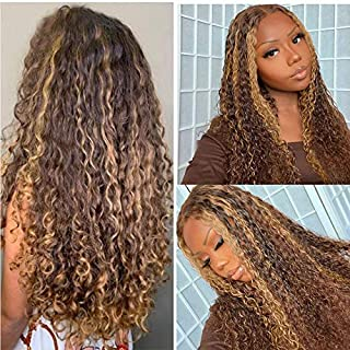 Ombre Highlights Human Hair Lace Front Wigs Brazilian Virgin Deep Wave Hair Brown to Blonde Highlights Curly Human Hair Wi...