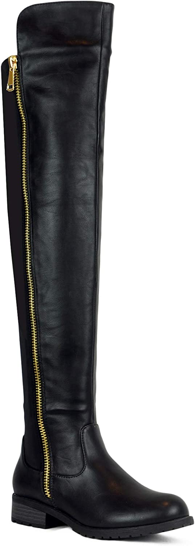 Westcoast Low Heel Over The Knee Boots Women's Stretch Back Side Zipper Long Boots Black 8