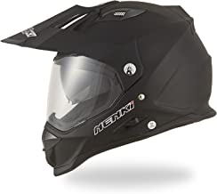Dual Sport Helmet by NENKI NK-313 Full Face Motocross & Motorcycle Helmets Dot Approved With Dual Visors (MATT BLACK, M 22.5-22.9 INCH)