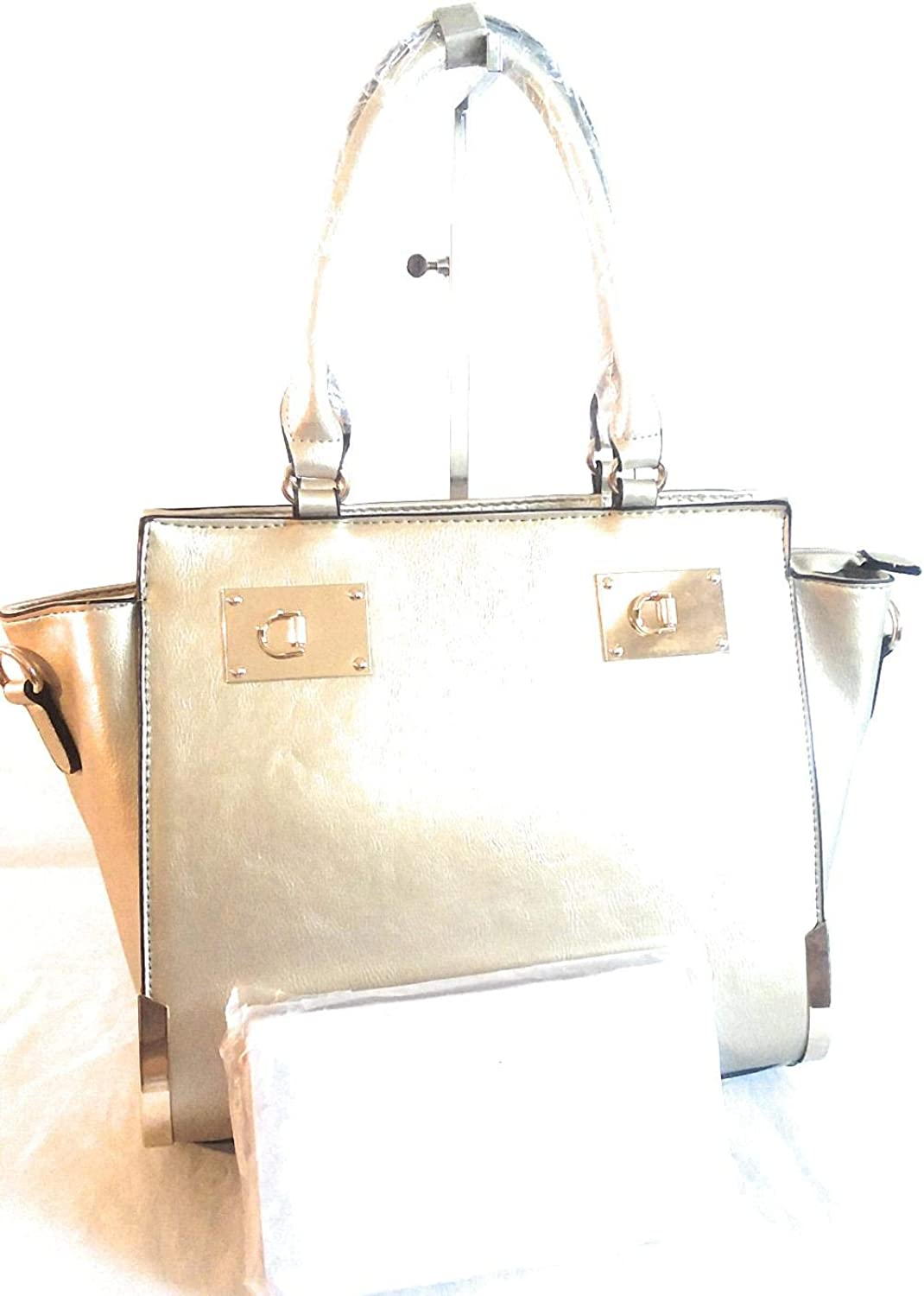 gold Womens Leather 2 Piece Purse Set w gold Trim