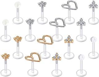 """JFORYOU 16G Clear Labret Lip Studs Plastic Tragus Earrings Cartilage Helix Earring Flexible Earlobe Bioflex Medusa Monroe Piercing Jewelry 1/4"""" 5/16"""" 6mm 8mm Bar Length"""