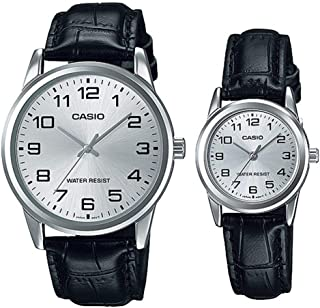 Casio His & Hers Black Dial Leather Band Couple Watch