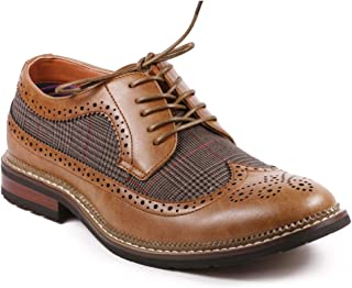 MET525-6 Men's Tweed Perforated Wing Tip Lace Up Oxford Dress Shoes